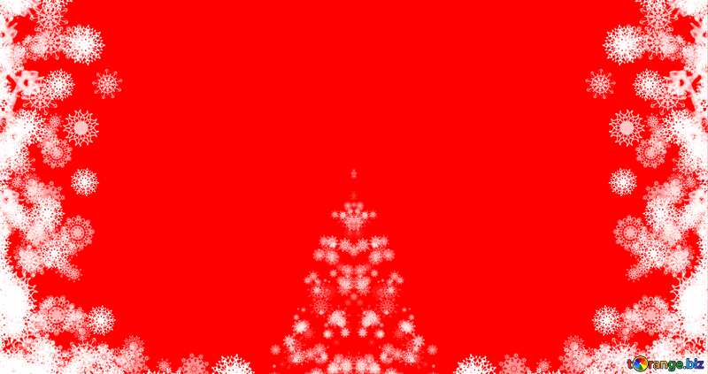 Background cred Christmas tree with snowflakes №40696