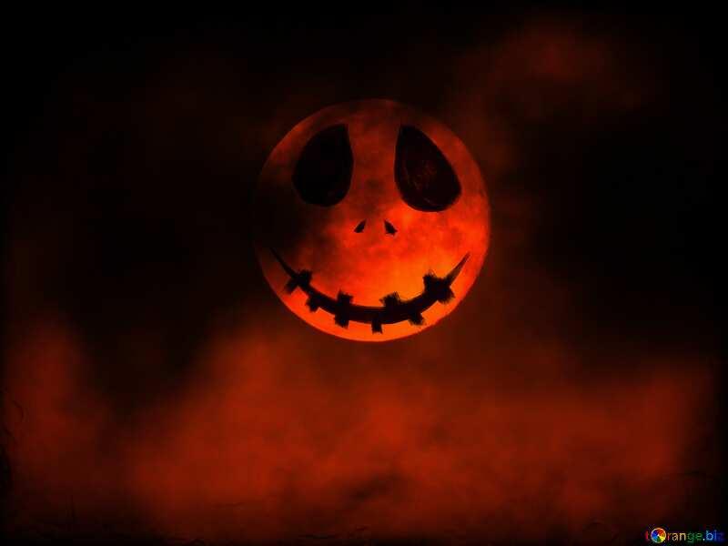 Color anaranjado. Fondo de Halloween con la luna. №40471