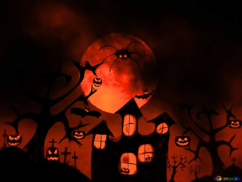 Halloween night red card background №40470