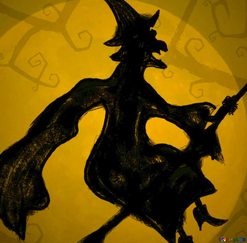 Image for profile picture Picture Halloween witch flying on her broom. №40587