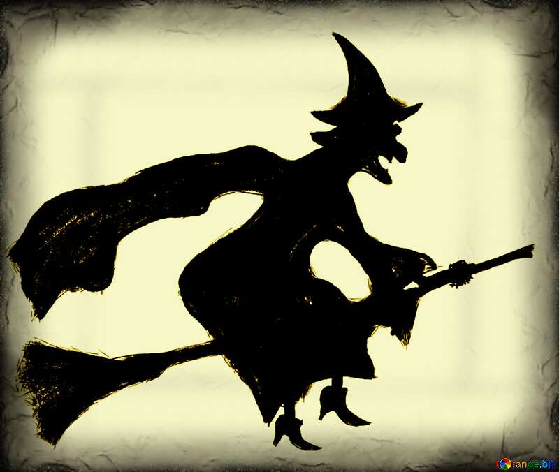 Monochrome. Halloween clipart witch. №40584