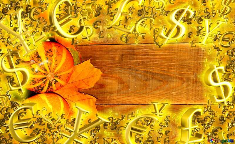 Autumn sales background with pumpkins side Gold money frame border 3d currency symbols business template №35230