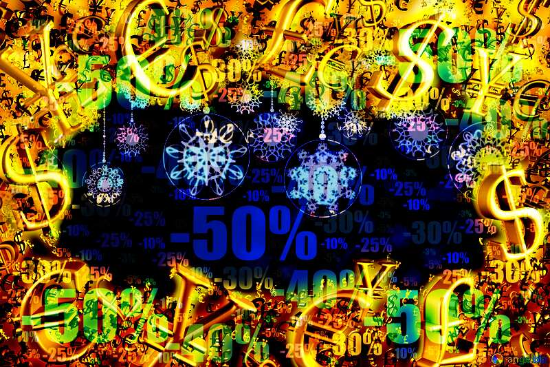 Christmas Clipart discount Sales background Gold money frame border 3d currency symbols business template №40711