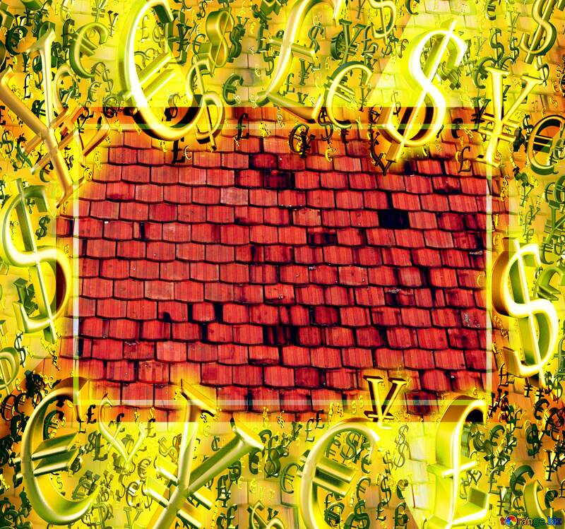 The texture of the old shingles Gold money frame border 3d currency symbols business template №31761