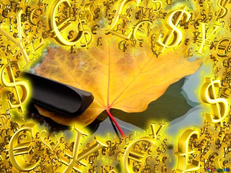 Autumn car sale discount banner design letter Gold money frame border 3d currency symbols business template №28377