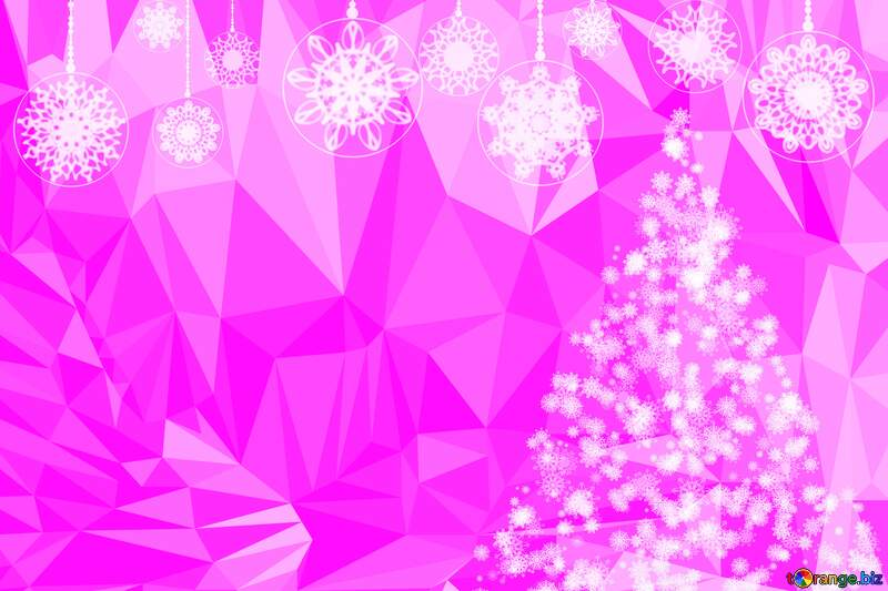 Pink Christmas background white frame around Polygon background with triangles №40685