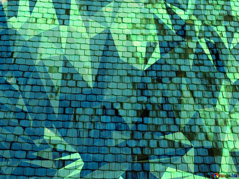 Texture old shingles blue Polygon background with triangles №31761
