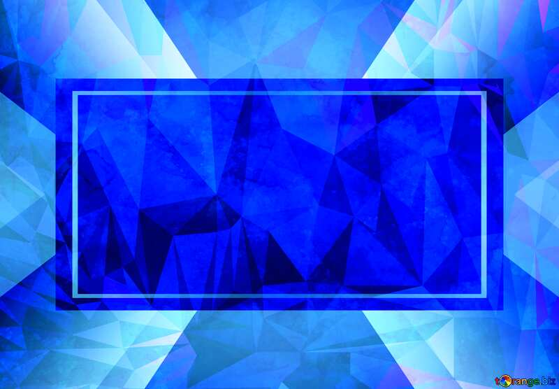 Blue Template frame border Polygon background with triangles №29140