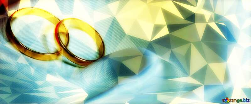 wedding Invitation two rings Polygon background with triangles №7235