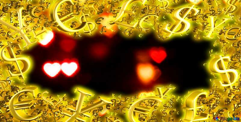 dark background with hearts bokeh Sale offer discount template Gold money frame border 3d currency symbols business №37850