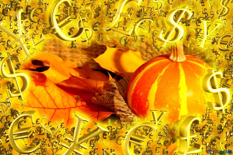 Beautiful picture with pumpkin and autumn leaves sale discount banner design letter Gold money frame border 3d currency symbols business template №35453