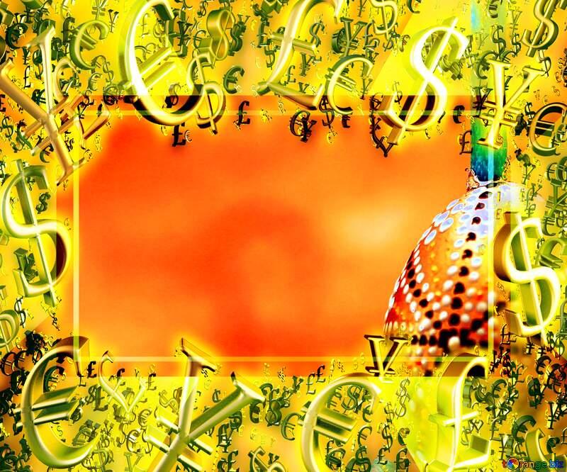 Easter background Gold money frame border 3d currency symbols business template Sale Spring №29800