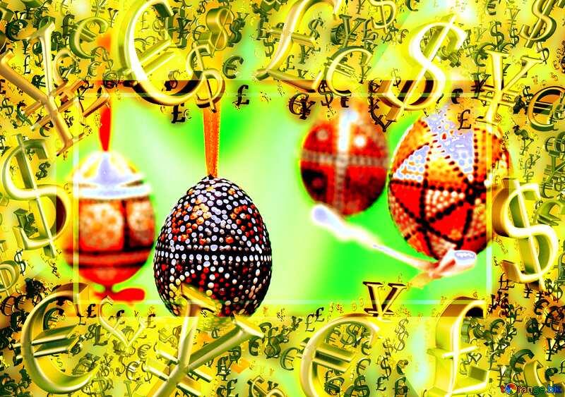 Spring Easter Gold money frame border 3d currency symbols business template Sales Background №29842