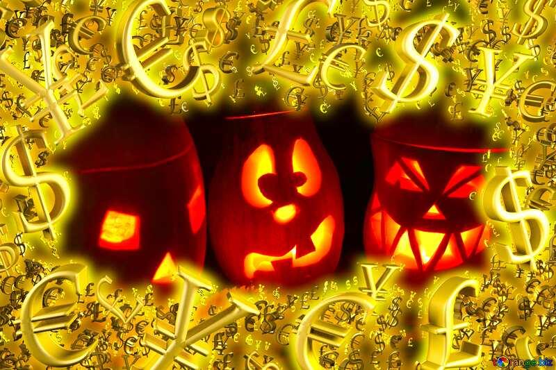 Pumpkins Golden money frame Business concept background №24317