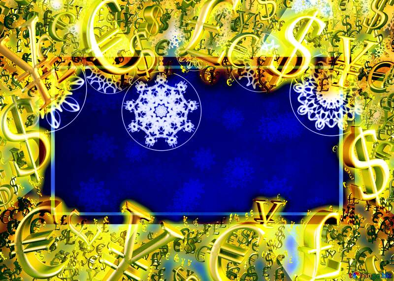 Christmas Sales design Clipart Gold money frame border 3d currency symbols business template №40711