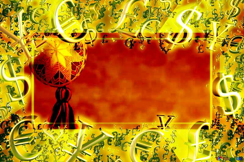 Easter greeting card Gold money frame border 3d currency symbols business template №29360