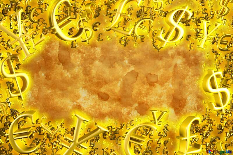 Texture of old paper Gold money frame border 3d currency symbols business template №29141