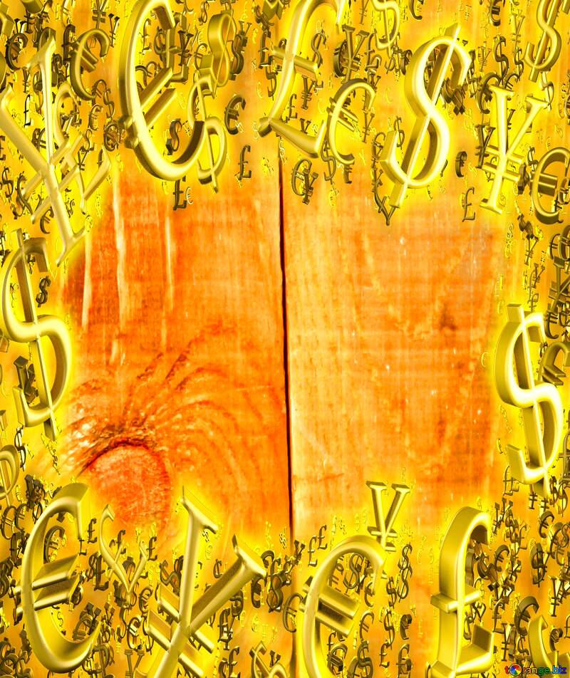 Texture of wooden boards Gold money frame border 3d currency symbols business template №35366