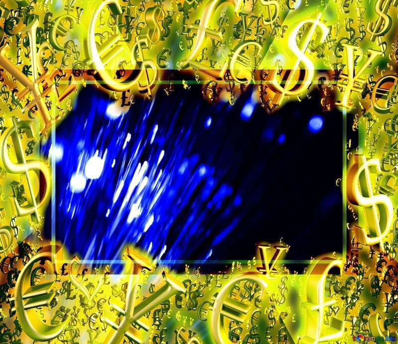 Gold money frame border 3d currency symbols business template Design Banner Background Fiber №41330