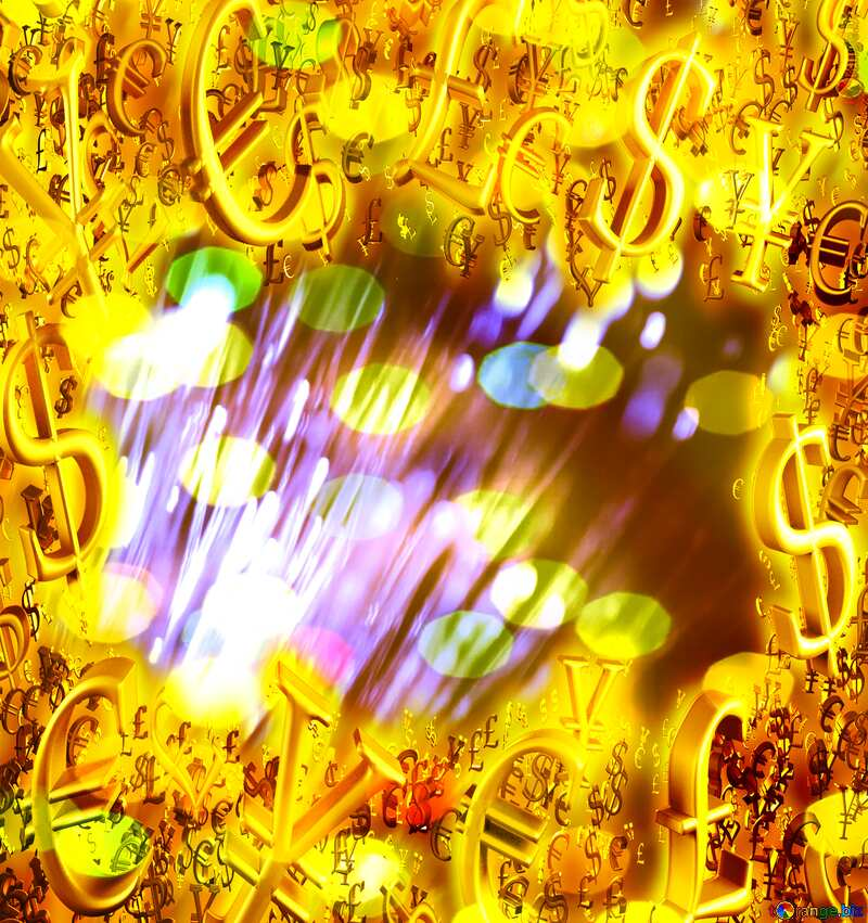 Optical fiber Sales promotion 3d Gold letters sale background bokeh Lights Template Gold money frame border 3d currency symbols business template №41330