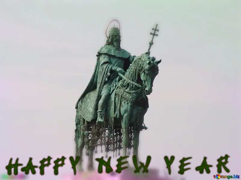 Equestrian statue of St. Stephen, Budapest Hungary Happy new year №31993