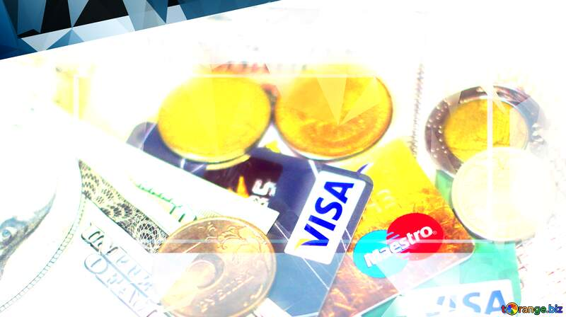 Polygon background with triangles money Visa Russia frame finance. №32372