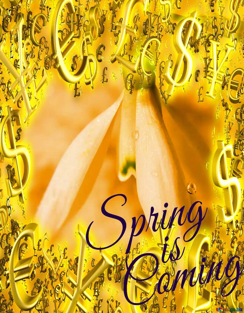 Spring on white background Spring is coming Sale offer discount template Gold money frame border 3d currency symbols business №38284