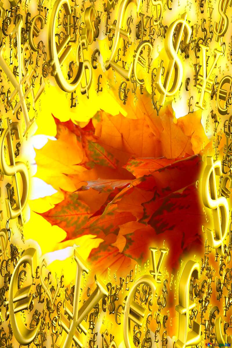 Gold money frame border 3d currency symbols business template Autumn №40879