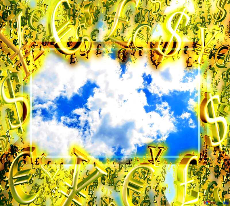 Sun and clouds Gold money frame border 3d currency symbols business template Background №31594