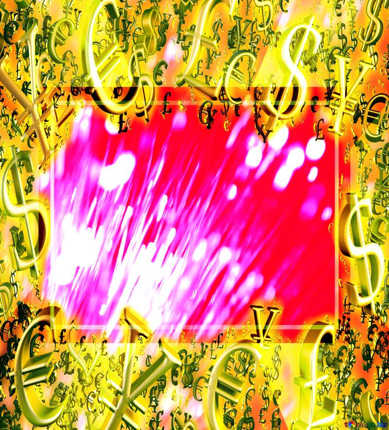 Optical fiber Gold money frame border 3d currency symbols business template Background №41330