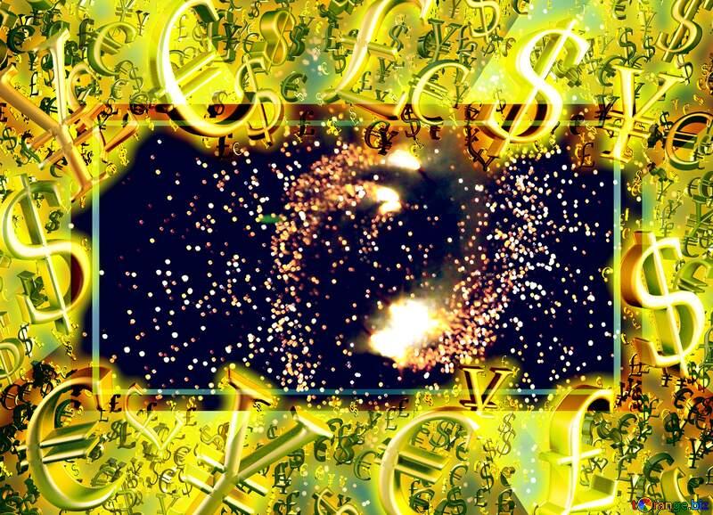 Ground fireworks spinning Gold money frame border 3d currency symbols business template Background №41342