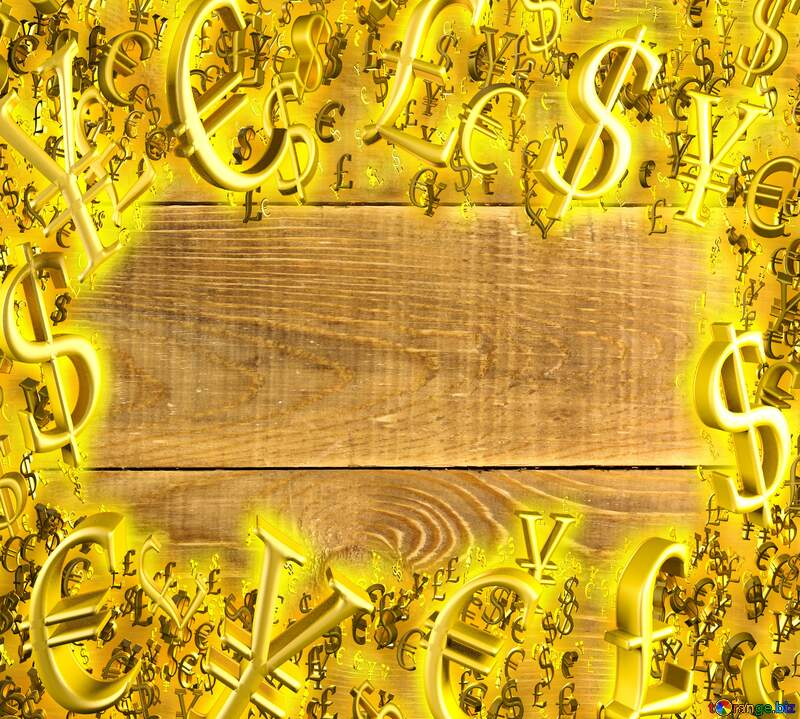 wooden background Sale offer discount template Gold money frame border 3d currency symbols business template №37899