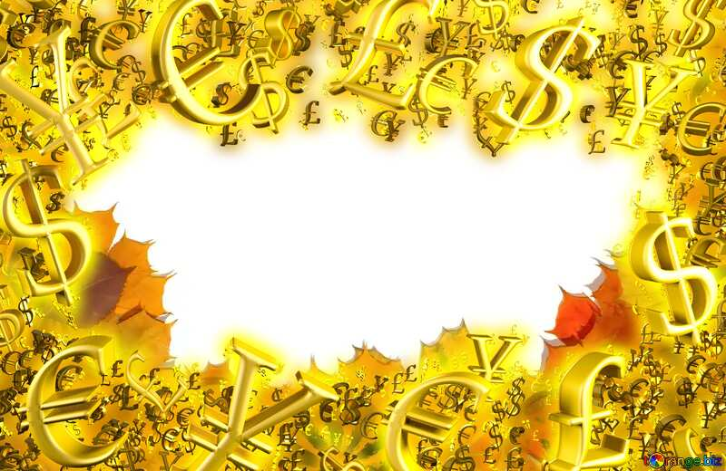 Autumn background Sale offer discount template Gold money frame border 3d currency symbols business template №35179