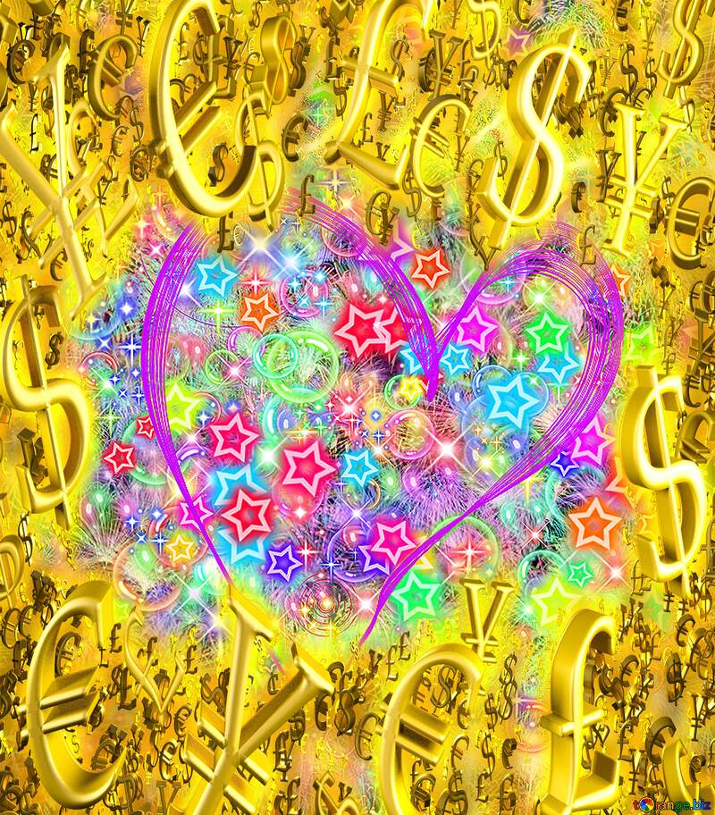 Background love heart Sale offer discount template Gold money frame border 3d currency symbols business template №40003