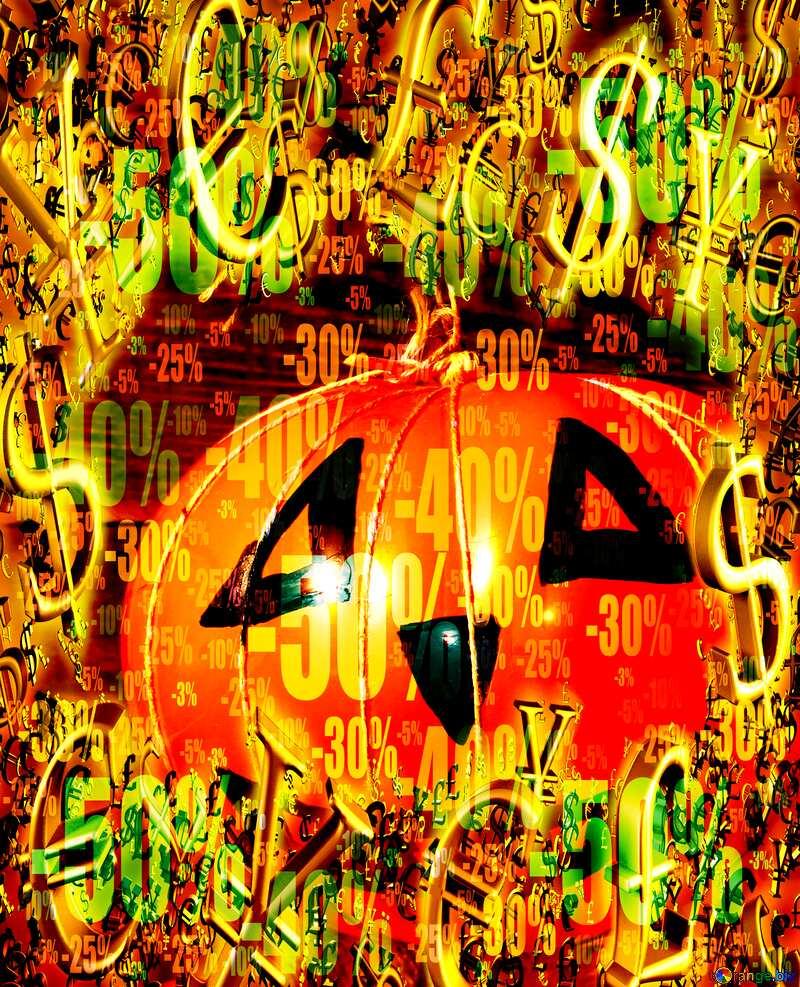 Sale offer discount template Halloween Background Pumpkin Gold money frame border 3d currency symbols business template №35403
