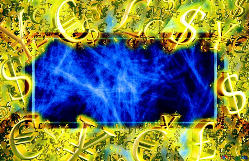 Background chaos Sale offer discount template Blue Color Design Gold money frame border 3d currency symbols business template №40643