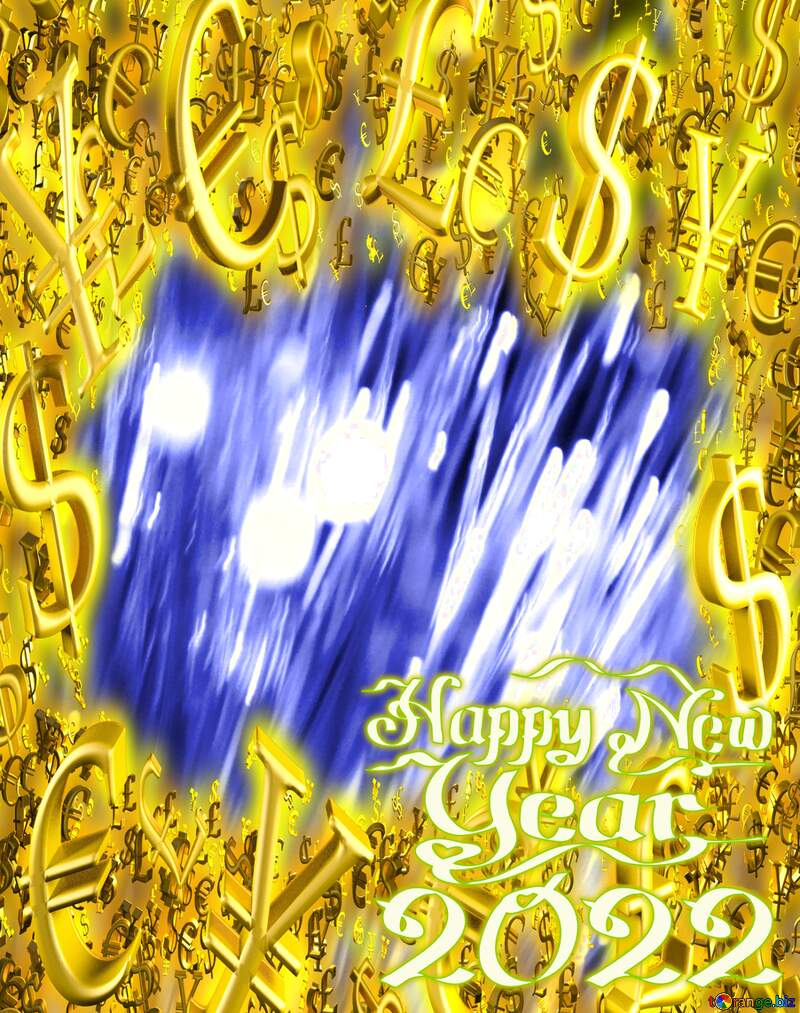 Optical fiber Gold money frame border 3d currency symbols business template Happy New Year 2022 №41330