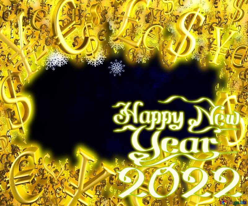 New year 2022 blue background with snowflakes Sale offer discount template Gold money frame border 3d currency symbols business template №40728