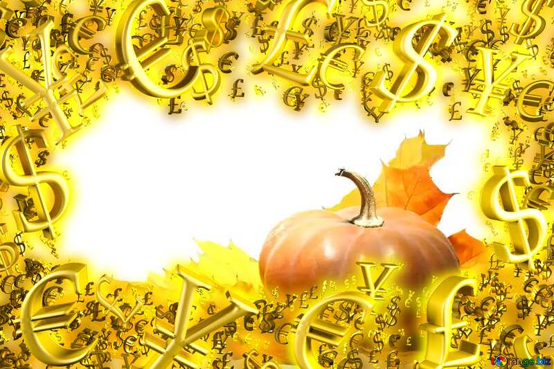 Pumpkin with autumn leaves no background Sale offer discount template Gold money frame border 3d currency symbols business template №35463