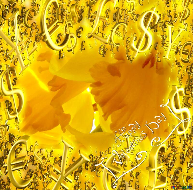 backgrounds happy valentines day background with yellow daffodils Sale offer discount template Gold money frame border 3d currency symbols business template №30915