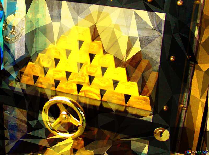 Safe with gold Polygonal background with triangles №50170
