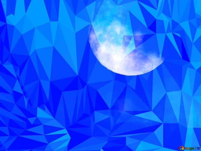 Moon Polygon background with triangles №31497