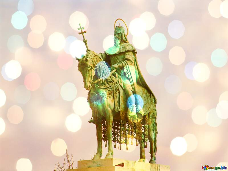 Equestrian statue of St. Stephen, Budapest Hungary bokeh  lights  background №31993