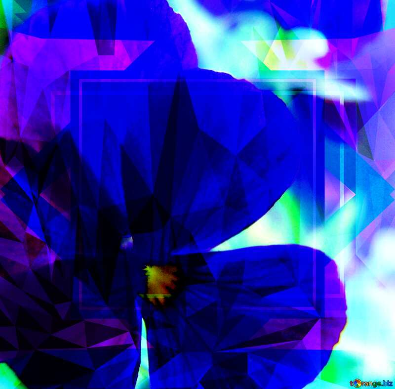 Pansies Blue Polygon abstract geometrical background with triangles №3200
