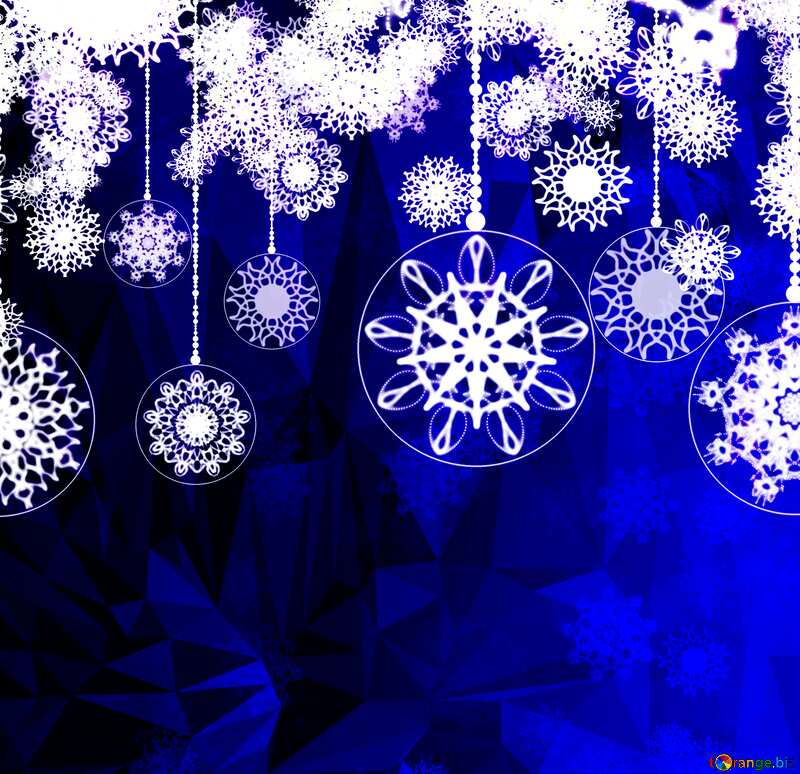 Blue Christmas Clipart Polygon abstract geometrical background with triangles №40711