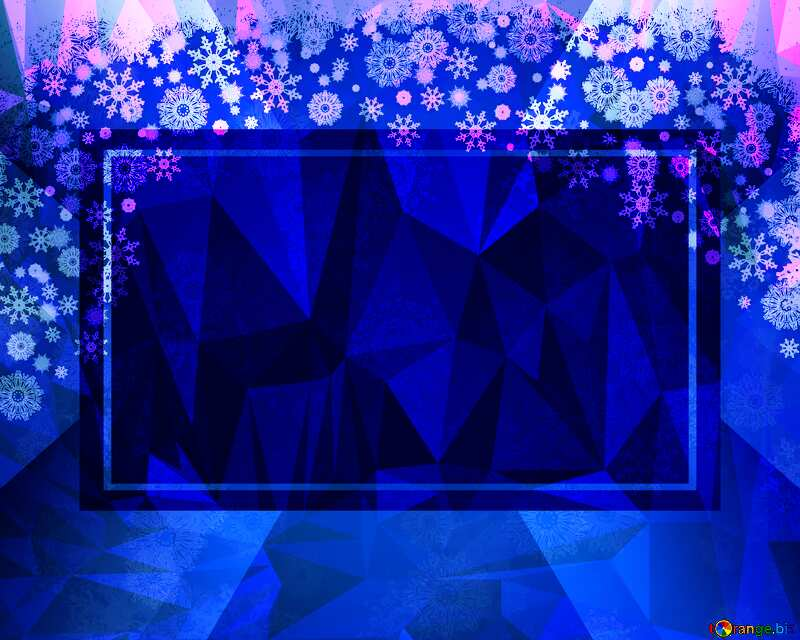 Blue Christmas Polygon abstract geometrical background with triangles №40658