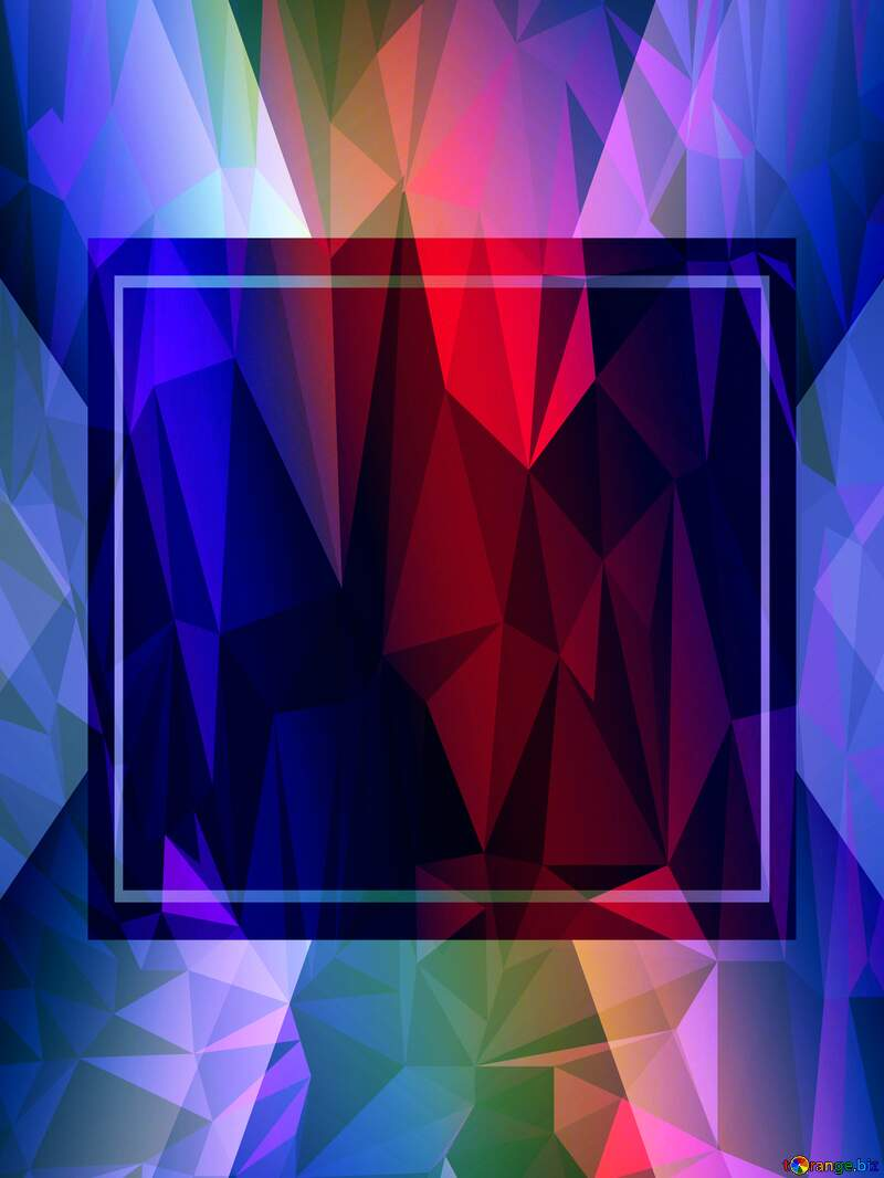 rainbow frame Polygon abstract geometrical background with triangles №43242