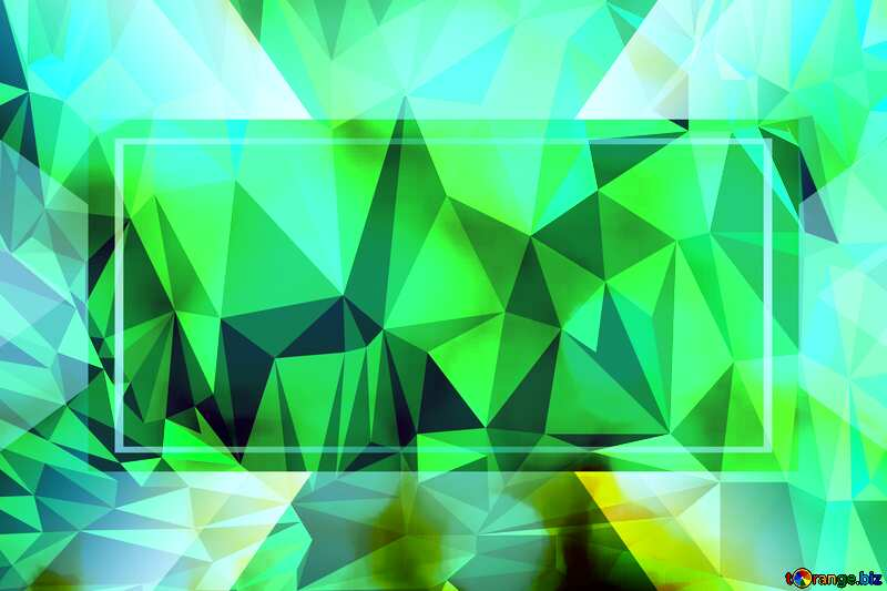 Green template frame Polygon abstract geometrical background with triangles №37815