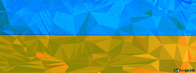 Ukraine flag  Polygon abstract geometrical background with triangles №51299