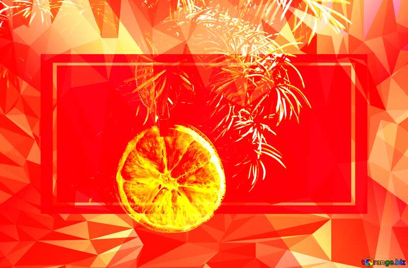 Fir tree branch dry slice of orange, Polygon abstract geometrical background with triangles №48138